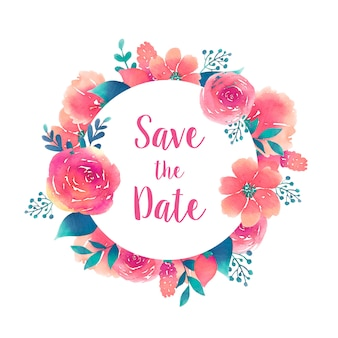 Save the date round frame with watercolor flowers element