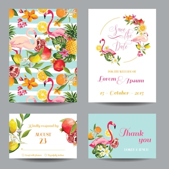 Save the date set of wedding cards in floral background. tropical fruits, flowers and flamingo birds.