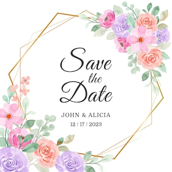 Save the date. soft pink purple floral watercolor with golden frame