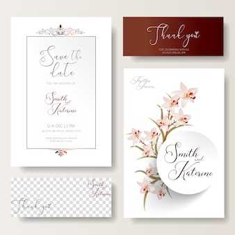 Save the date special wedding card pink orchids pattern texture