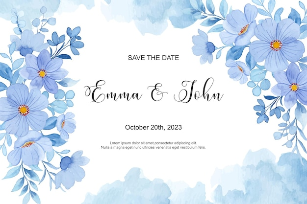 Save the date spring blue flower with watercolor