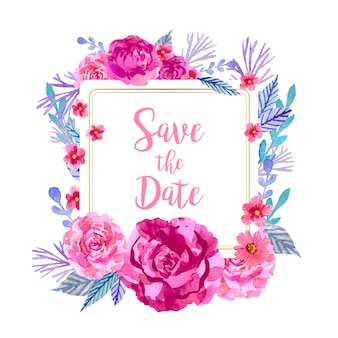 Save the date square frame with watercolor floral decoration