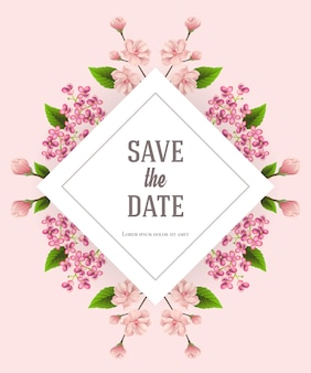 Save the date template with cherry and lilac flowers on pink background.