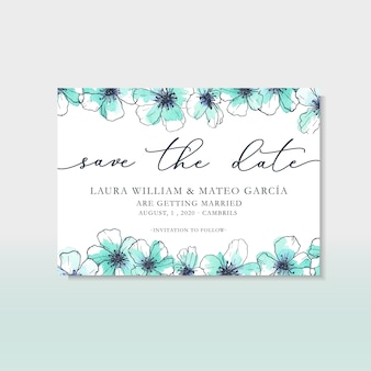 Save the date template with hand drawn flowers