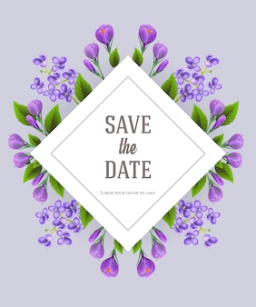 Save the date template with lilac and crocus flowers on gray background.