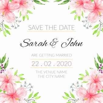 Save the date template with watercolor hibiscus floral frame