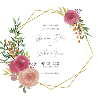 Save the date template with watercolor roses flower decoration and gold frame