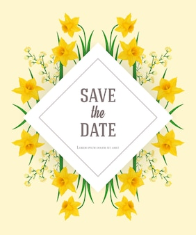 Save the date template with yellow narcissus. handwritten text, calligraphy.