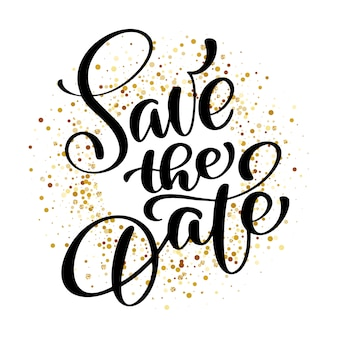 Save the date text calligraphy