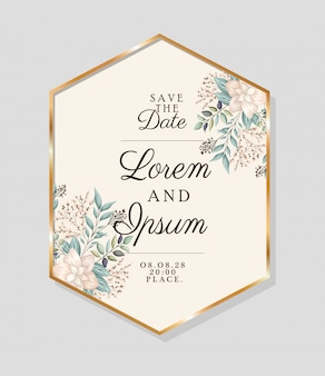 Save the date text in gold frame with flowers and leaves