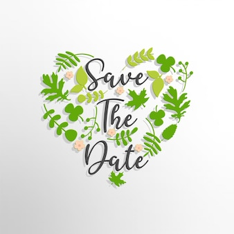 Save the date text with green leaves background