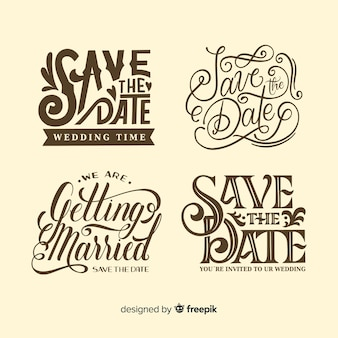 Save the date vintage design for lettering collection