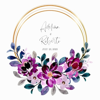 Save the date. violet floral wreath watercolor with golden frame