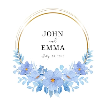 Save the date watercolor blue floral wreath with gold frame