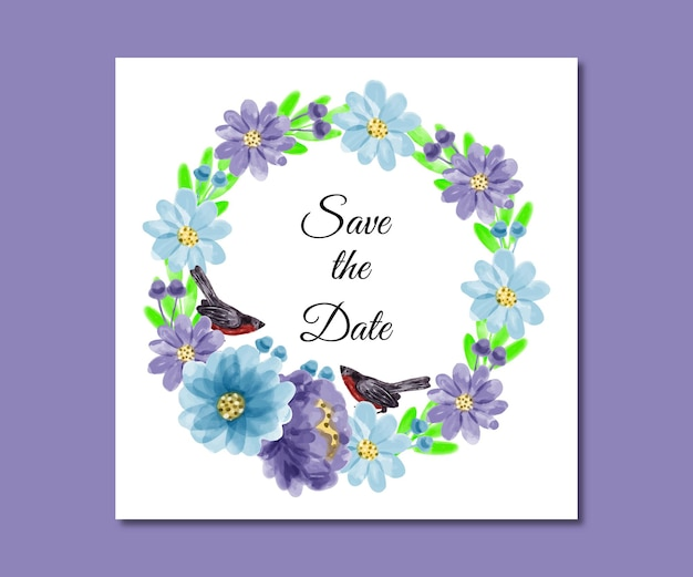 Save the date watercolor blue purple flowers