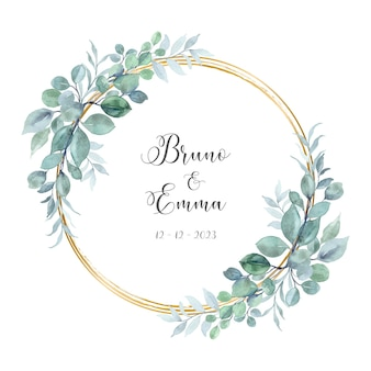 Save the date watercolor eucalyptus with gold circle