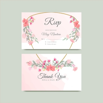 Save the date watercolor floral   thanks card