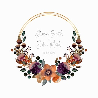 Save the date. watercolor floral wreath with golden circle