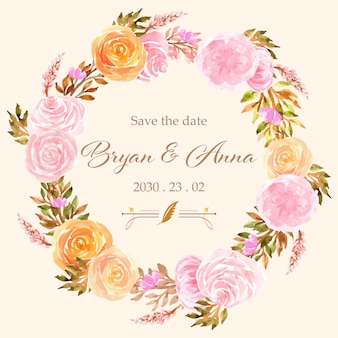Save the date watercolor floral wreath with roses