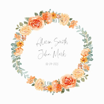 Save the date watercolor floral wreath