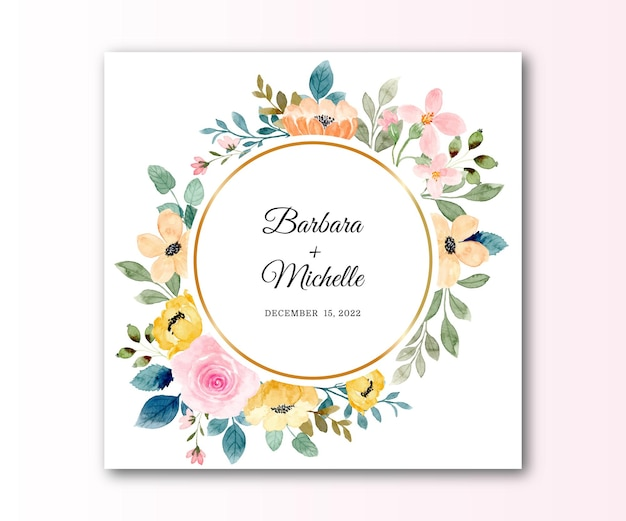 Save the date watercolor flower frame with golden circle