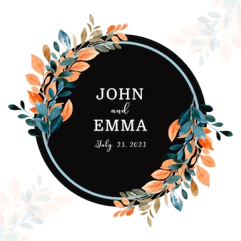Save the date watercolor leaves wreath with circle frame
