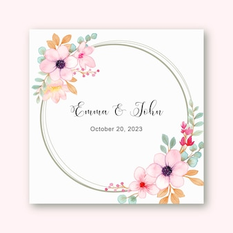 Save the date watercolor pink floral wreath frame