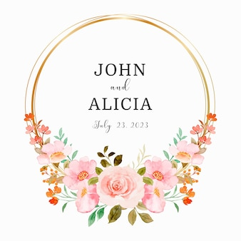 Save the date watercolor pink floral wreath with golden circle