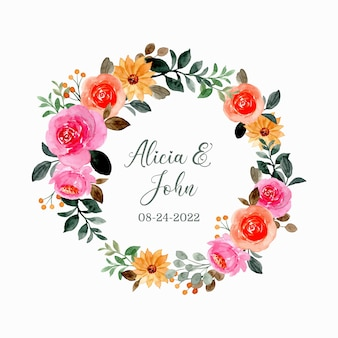 Save the date. watercolor pink floral wreath