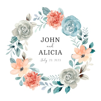 Save the date watercolor rose wreath