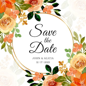 Save the date. watercolor roses with golden frame