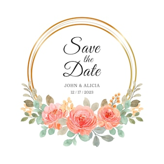 Save the date. watercolor roses wreath with golden circle