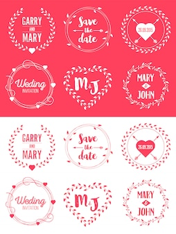 Save the date wedding badge illustration set.