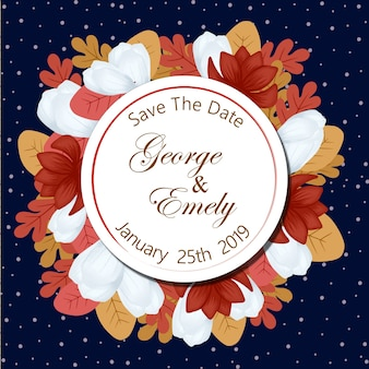 Save the date wedding badge with autumn floral frame