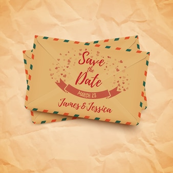 Save the date wedding beautiful decorative card with vintage envelopes,