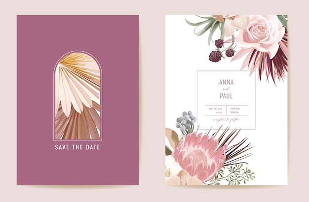 Save the date wedding dried protea, orchid, pampas grass floral set. vector exotic dry flower, palm leaves boho invitation card. watercolor template frame, foliage cover, modern poster, trendy design