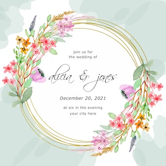 Save the date. wedding frame invitation with floral watercolor