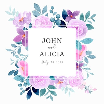 Save the date wedding frame with purple floral watercolor