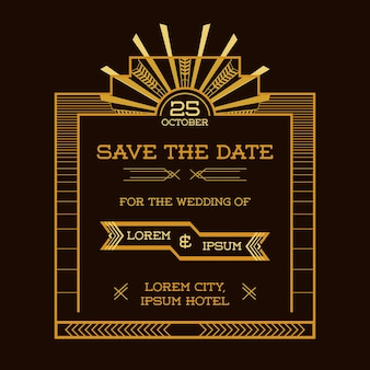 Save the date  wedding invitation card  art deco