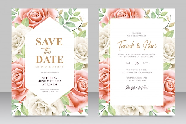 Save the date wedding invitation card design of roses and leaves