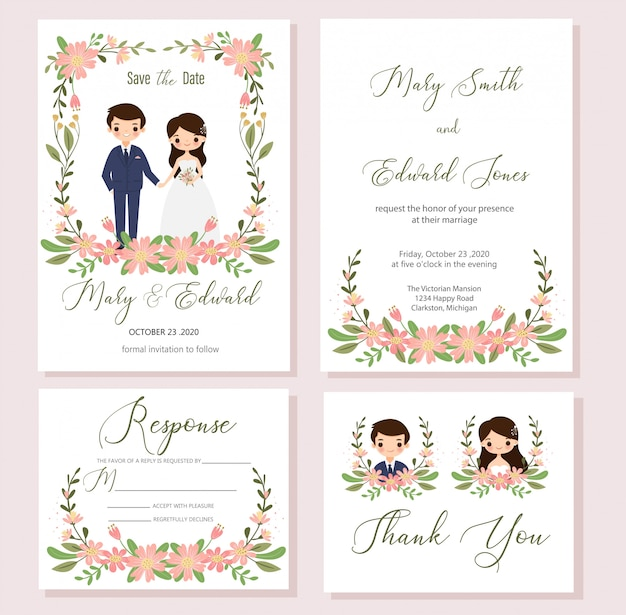 Save the date, wedding invitation card template, rsvp, thank you card set