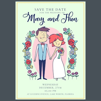 Save the date, wedding invitation card template