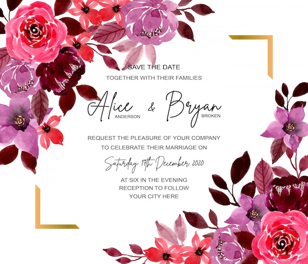 Save the date. wedding invitation card with floral watercolor