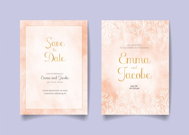 Save the date, wedding invitation card with pink watercolor background, leaves and branches.