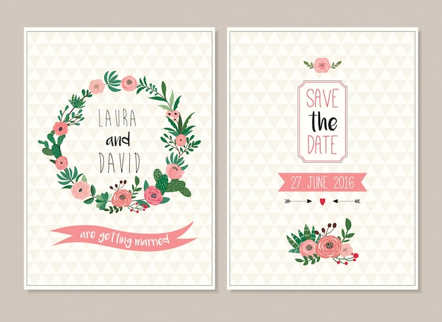 Save the date wedding invitation cards collection with floral design