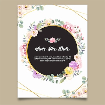 Save the date wedding invitation in floral background