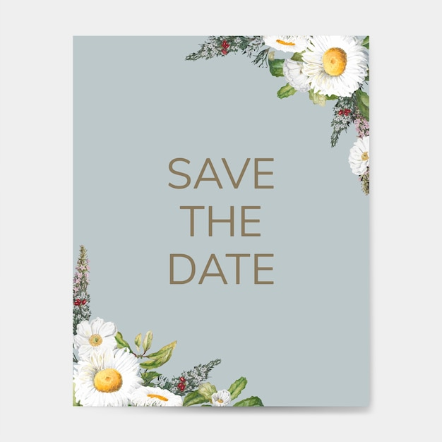 Save the date wedding invitation mockup card vector