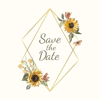 Save the date wedding invitation mockup vector