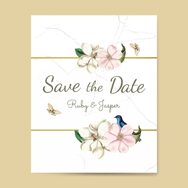 Save the date wedding invitation mockup