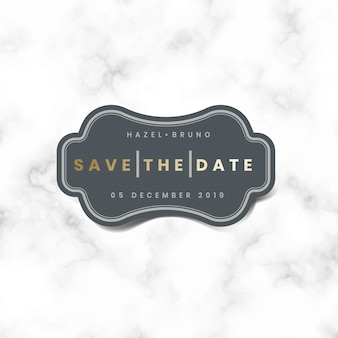 Save the date wedding invitation sticker vector